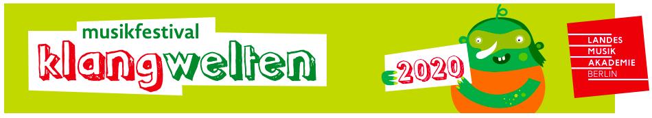 Logo mit Schriftzug musikfestival klangwelten 2020 von der Landes Musik Akademie Berlin