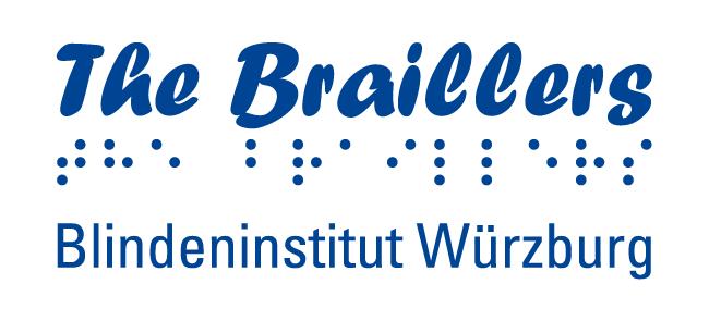 """Das Logo der Band """"The Braillers"""" mit Schriftzug vom """"Blindeninstitut Würzburg"""