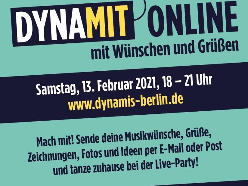 """Flyer mit Schrift """"DYNAMIT Online Samstag, 13. Februar, 18-21 Uhr"""