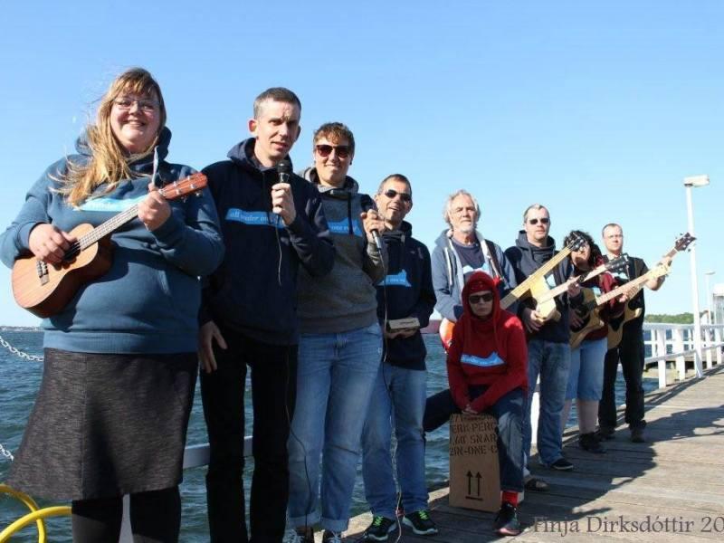 9 Mitglieder der Band mit Ukulele, 2 Mikrofonen, 2 Gitarren, 2 Bässen auf einem Pier vor dem Meer
