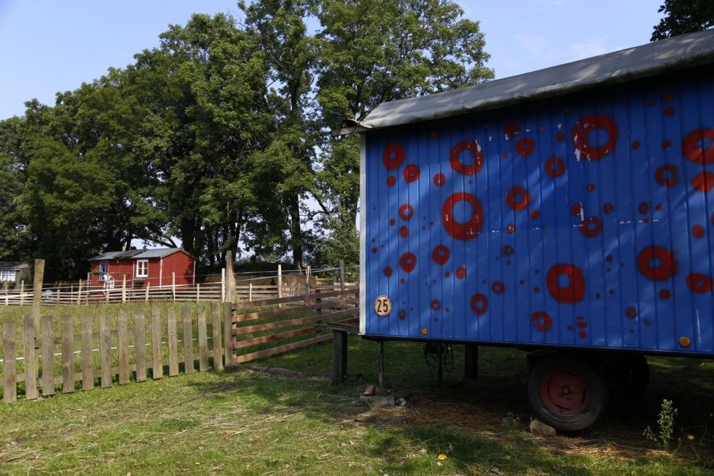 Eine grüne Weide mit einem verzierten blauen Bauwagen und einem roten Haus, im Hintergrund große grüne Bäume
