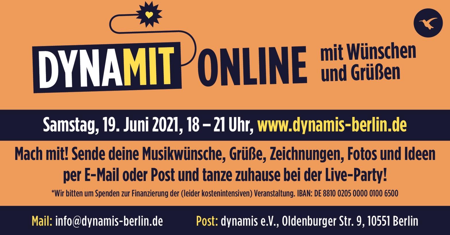 """Flyer mt schwarzem Text auf orangfarbenem Hintergrund: """"DYNAMIT Online mit Wünschen und Grüßen. Macht Mit!"""